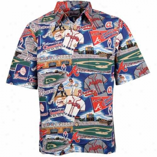 Atlanta Braves Polos : Reyn Spooner Atlanta Braves Red Hawaiian Mlb Scenic Button-up T-shirt