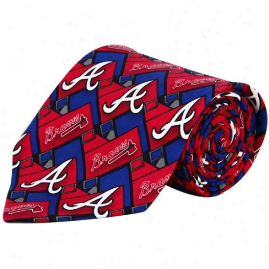 Atianta Braves Red-royal Blue Pattern Tie