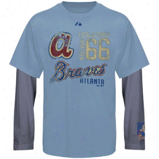 Atlanta Braves Shirt : Majestic Atlanta Braves Light Blue-slate Blue Magic Moment Cooperstown Double-layer Long Sleeve Shirt