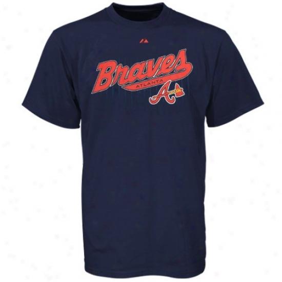Atlanta Braves Shirr : Majestic Atlanta Braves Young men Navy Blu3 Pinstitch Shirt