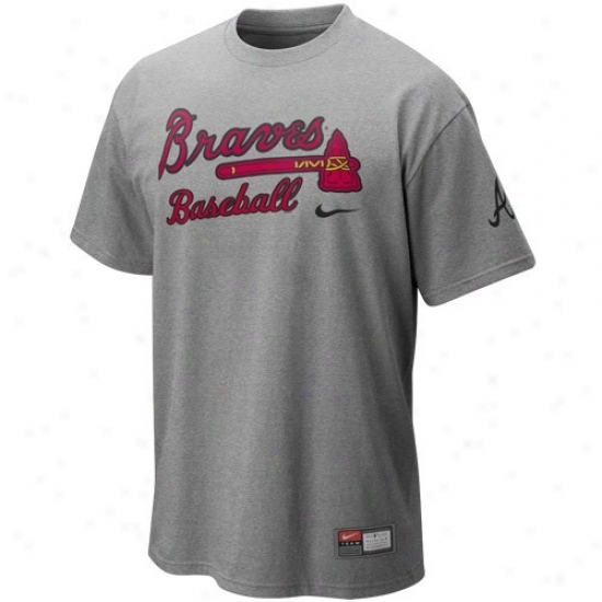 AtlantaB raves Shirts : Nike Atlanta Braves Ash Mlb 2010 Practice Shirts