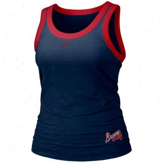 Atlanta Braves Shirts : Nike Atlanta Braves Ladies Navy Blue Mlb Tank Top