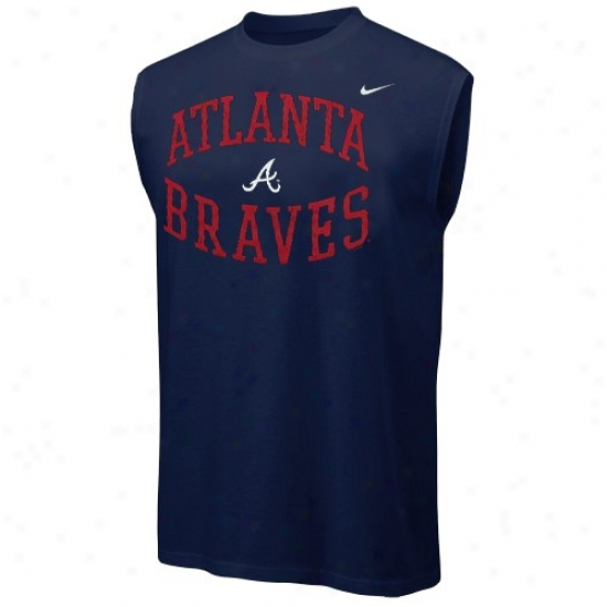 Atlanta Braves Shirts : Nike Atlanta Braves Ships of war Blue Team Logo Sleeveless Shirts
