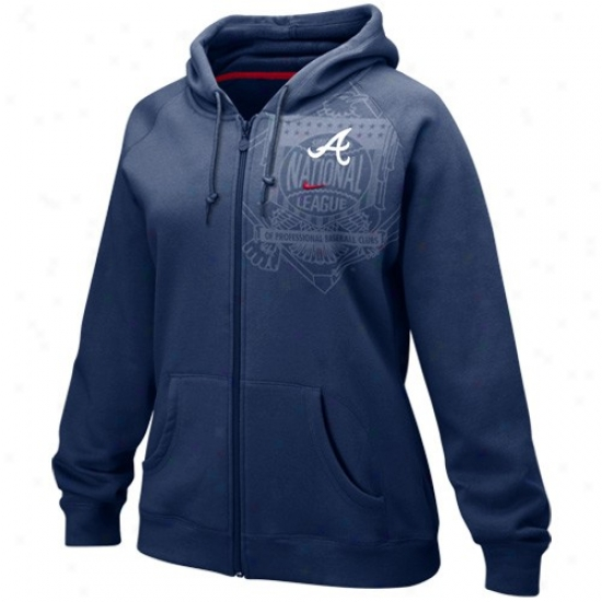Atlanta Braves Sweat Shirts : Nike Atlanta Braves Navy Blue Ladies League Full Zip Sweat Shirts