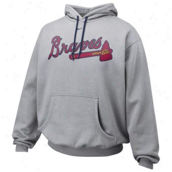 Atlanta Braves Sweatshirt : Niks Atlanta Braves Ash Pre-game Sweatshirt