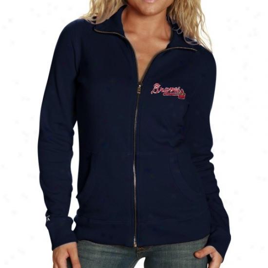 Atlanta Braves Sweatshirts : Antigua Atlanta Braves Ladies Navy Pedantic  Revolution Full Zip Sweatshirts