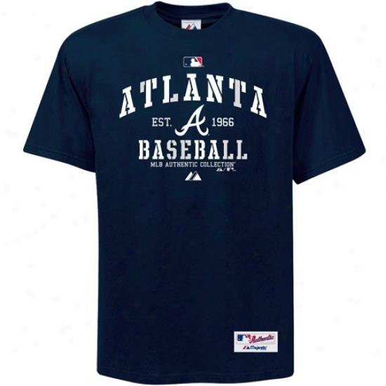 Atlanta Braves T Shirt : Splendid Atlanta Braves Navy Blue Ac Classic T Shirt