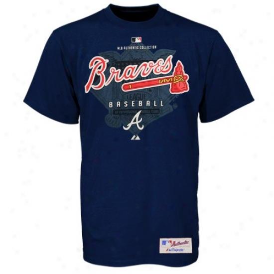 Atlanta Braves Tees : Majestic Atlanta Braves Nqvy Azure Momentum Tees