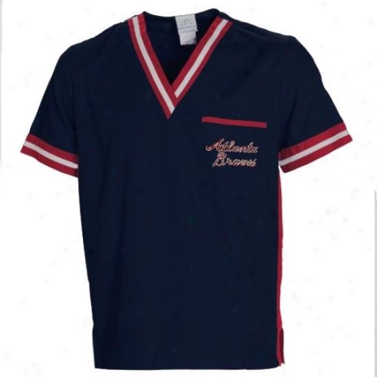 Atianta Braves Tshirt : Atlanta Braves Navy Blue Scrub Top