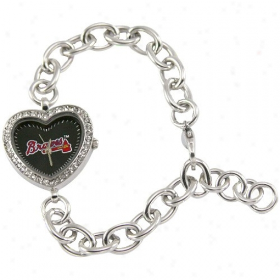 Atlanta Braves Watch : Atlanta Bravew Ladies Silver Heart Watch