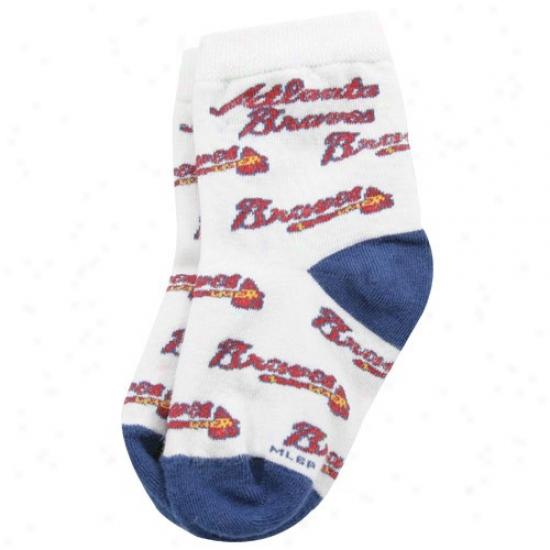 Atlanta Braves White Toddler (903) 4-6 Team Logo Socks