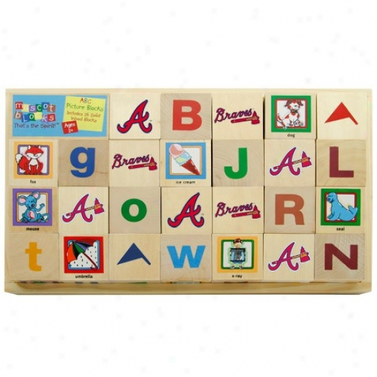 Atlanta Braves Wooden Baseball Alphabet Blocks