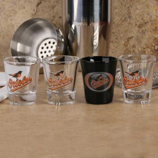 Baltimore Orioles 4-pacck Vortex Shot Glass Seet