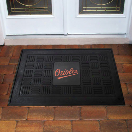 Baltimore Orioles Black Team Logo Rubber Mat