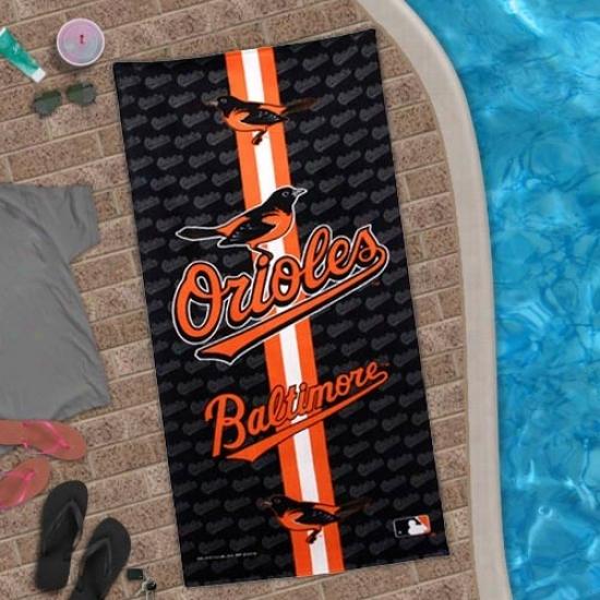 Baltimore Orioles Black Team Stripe Beach Towel