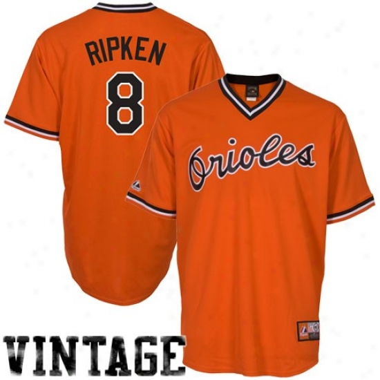 Baltimore Orioles Jerseys : Majestic Cal Ripken Baltimore Orioles Cooperstoan Jerseys #8 Orange