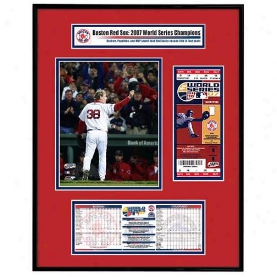 Boston Red Sox 2007 World Series Ticket Frame Jr.- Game 2 Winner Curt Schilling