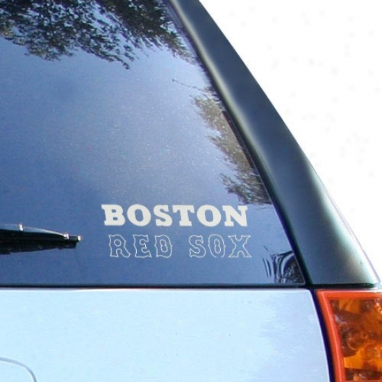 Boston Red Sox 5'' X 6'' Silver Window Graphic Decal