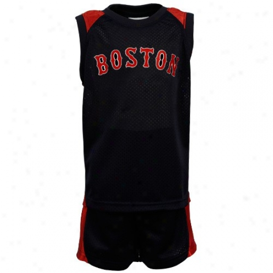 Boston Red Sox Apparel: Bostom Redd Sox Toddler Navy Blue Mesh & Dazzle Tank Top & Shorts Set
