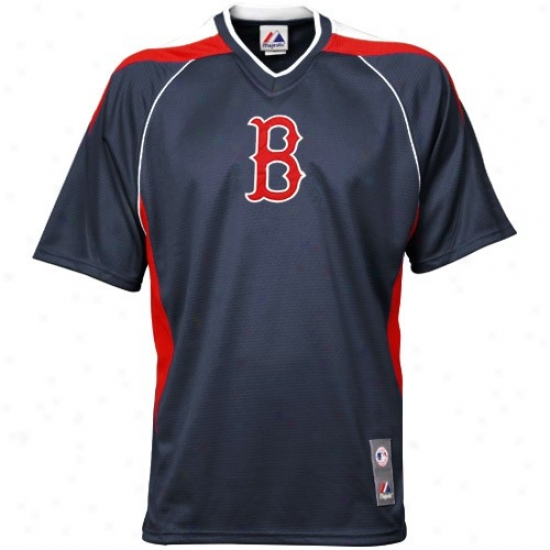 Boston Red Sox Apparel: Majestic Boston Red Sox Navy Blue Impact V-neck Jersey
