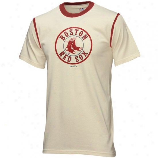 Boston Red Sox Apparel: Majestic Boston Red Sox Natural Winner Fashion Viintage T-shirt