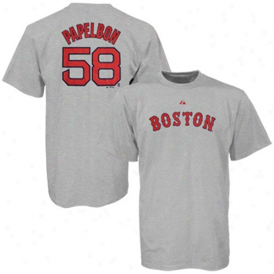 Boston Red Sox Attire: Majesric Boston Red Sox #58 Jonathan Papelbon Ash Road Player T-shirt