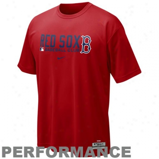 Boston Red Sox Attire: Nike Boston Red Sox Red Nikefit Team Issue Performance Training Top