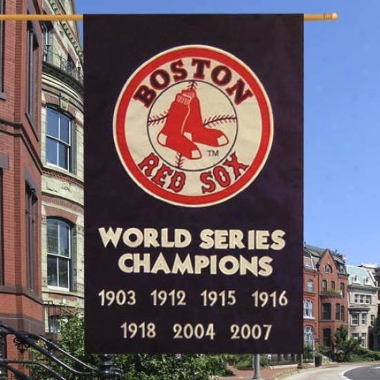 Boston Red Sox Banner : Boston Red Sox Navy Blue Vertical World Succession Champions Applique Baner