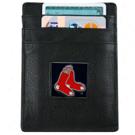 Boston Red Sox Black Leather Card Holder & Coin  Clip