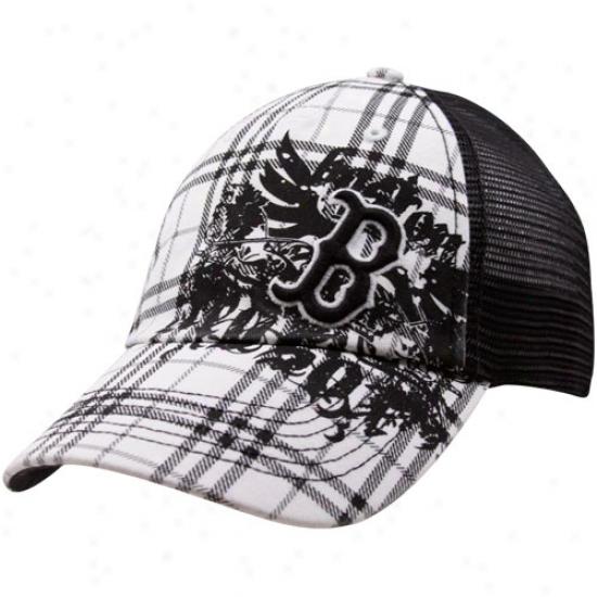 Boston Red Sox Black-white Plaid Steetch-fit Mesh Suffolk Hat
