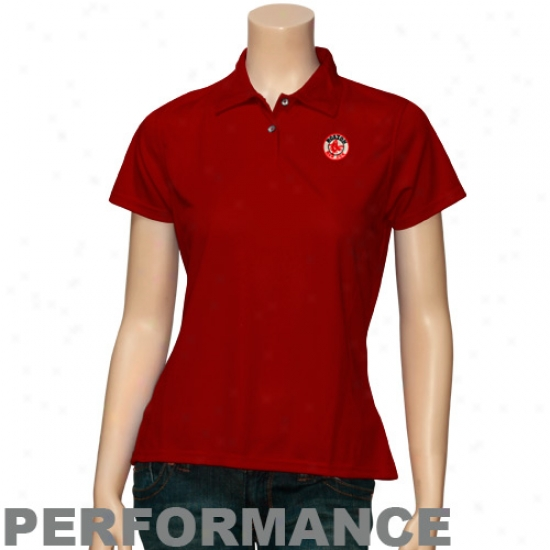 Boston Red Sox Clothing: Antigua Boston Red Sox Red Ladies Eccellence Performance Polo