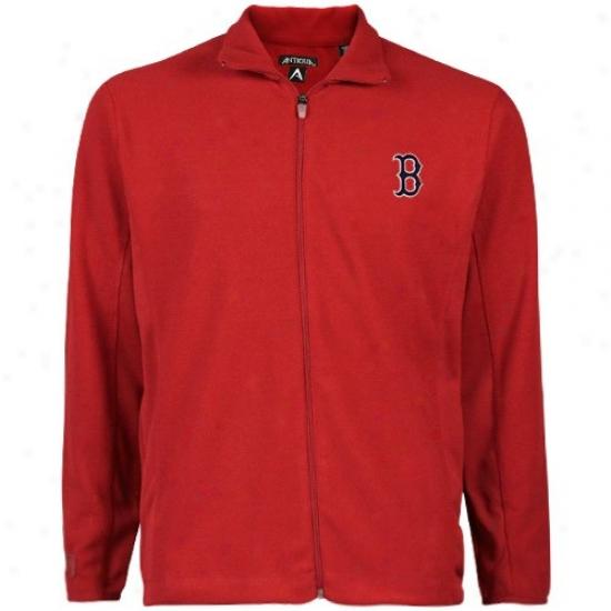 Boston Red Sox Fleece : Antigua Boston Red Sox Red Sleet Full Zip Fleece Jacket