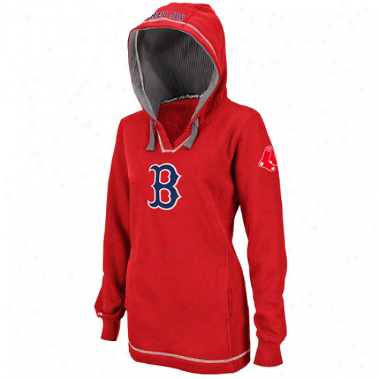 Boston Red Sox Fleece : Majedtic Bosston Red Sox Ladies Red The Liberation Pullover Fleece
