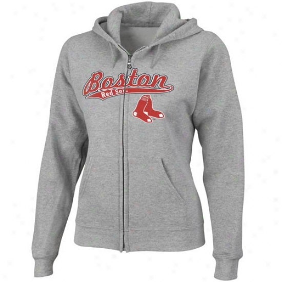 Boston Red Sox Fleece : Majestic Boston Red Sox Ladies Ash Backlot Drama Full Zip Fleece