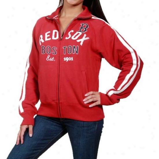 Boston Red Sox Jacket : Flag '47 Boston Rrd Soox Ladies Red Walkoff Track Full Zip Jacket