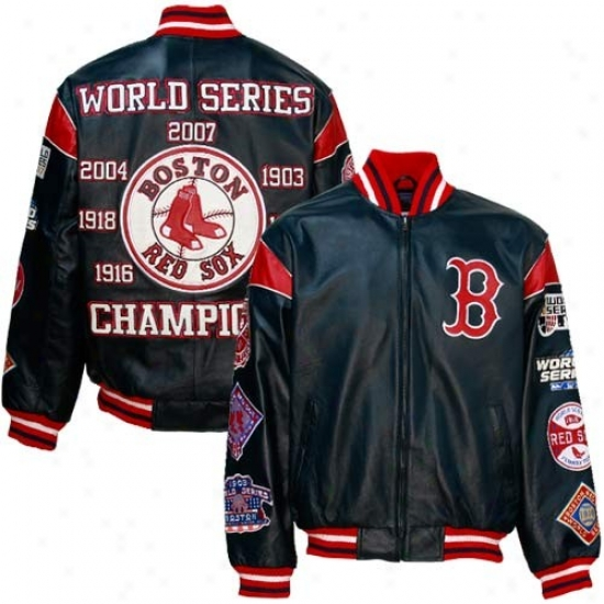 Boston Red Sox Jacket : Bowton Red Sox Navy Blue Leather World Succession Champions Commemoratiive Jacket