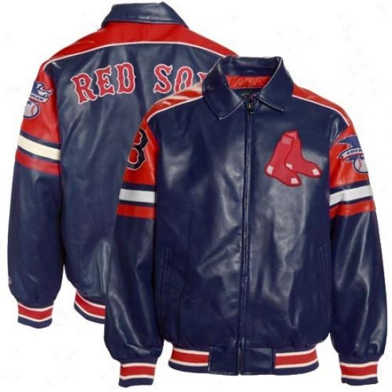 Boston Red Sox Jacket : Boston Red Sox Youth Navy Blue Plezther Varsity Full Zip Jacket