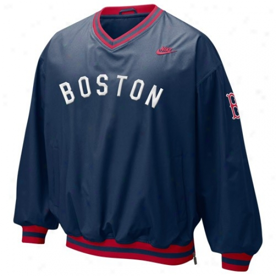 Boston Red Sox Jackets : Nike Boston Red Sox Navy Blue Beanball Windshirt