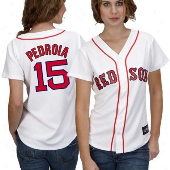 Boston Red Sox Jersey : Majestiic Boston Red Sox #15 Dustin Pefroia Ladies White Replica Baseball Jersey