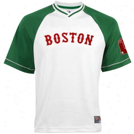 Boston Ref Sox Jersey : Majeaitc Boston Red Sox White-kelly Green Abounding Force V-neck Jersey