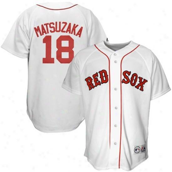 22e02cf2d ... Boston Red Sox Jersey Majestic Boston Red Sox 18 Daisuke Matsuzaka  White Replica Baseball ...