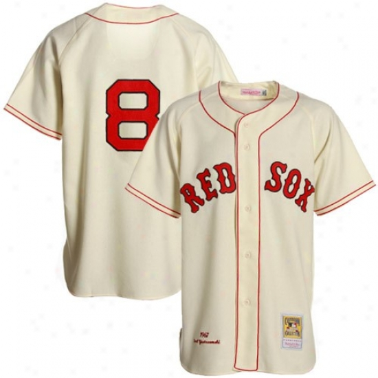 Boston Red Sox Jersey : Mitchell & Ness Boston Red Sox # 8 Carl Yastrzemski Cream Cooperstown Authentic Throwback Baseball Jersey
