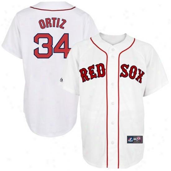 Boston Red Sox Jerseys : Majetic David Ortiz Boston Rex Sox Replica Baseball Jerseys #34 White