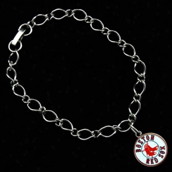 Boston Red Sox Ladies Silver-tone Charm Bracelet