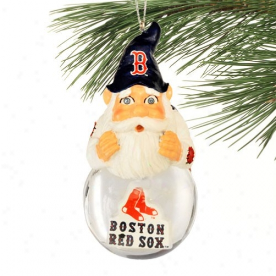 Boston Red Sox Light-up Gnome Snowglobe Christmas Ornqment