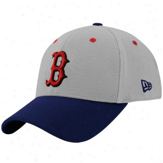 Boston Red Sox Merchandise: New Era Bostob Red Sox Gray Max 39thirty Stretch Fit Hat