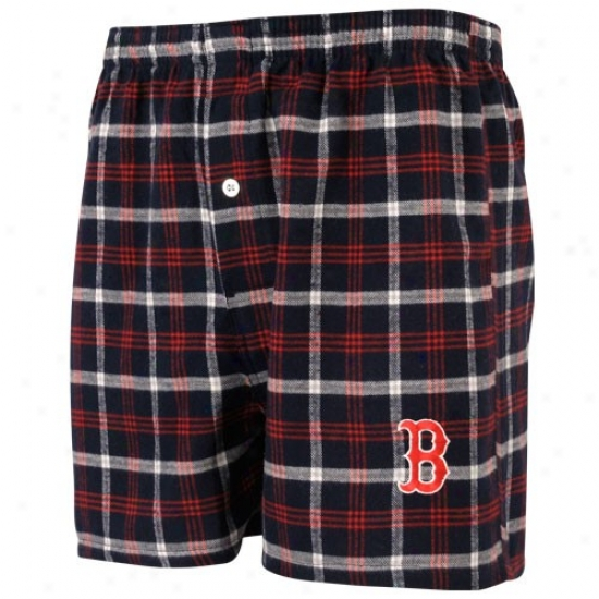 Boston Red Sox Navy Blue Plaid Tailgate Boxer Sh0rts