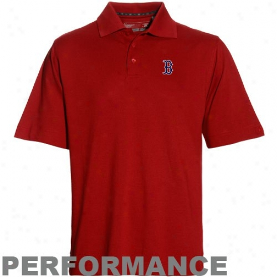 Boston Red Sox Polos : Cutter & Buck Boston Red Sox Red Drytec Championship Performance Polos