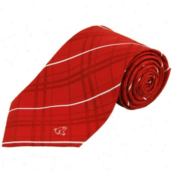 Bpston Red Sox Red Oxford Woven Tie