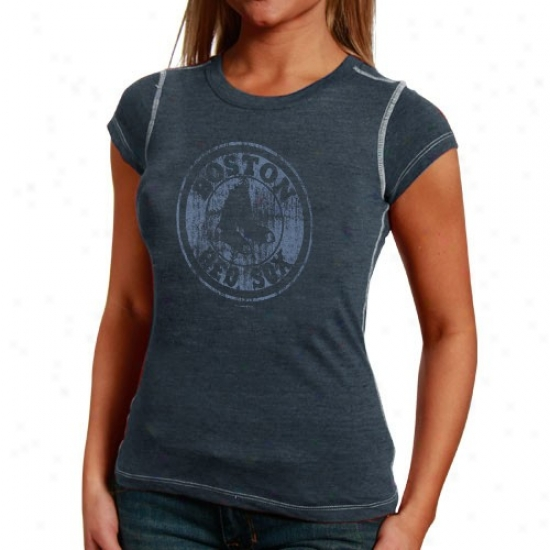 Boston Red Sox Shirt : Boston Red Sox Ladies Navy Blue Triblend Stitched Shir